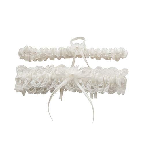 chzeit Braut Oberschenkel Strumpfbänder Set Plissee Rüschen Spitze Bowknot Floral Imitation Perle Elastisches Bein Ring Prom ()