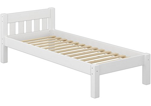 Erst-Holz® Jugendbett Einzelbett 80x200 Futonbett Kieferbett Massivholz weiß mit Rollrost 60.38-08 W -