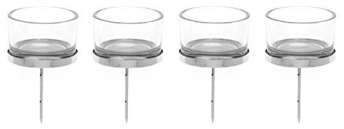 Preisvergleich Produktbild GLOREX 6 7021 001 Kerzenhalter mit Teelichtglas, 4 Stück, 4 x 9 cm, silber