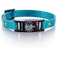 cat-life Katzen Sicherheitshalsband Sicherheitsverschluss individuell einstellbar (Hearts hellblau, unter 4 kg Verschluss blau)