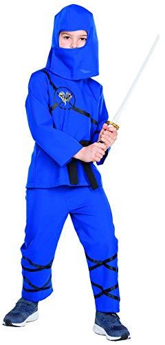 Rubie's Ninja blau Kostüm Größe 104 Kinder Karneval Asiatischer Elite Kämpfer (Ninja Kämpfer Kapuzen Kostüm)