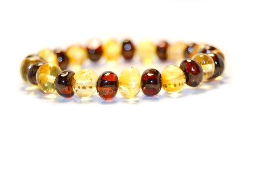Echtes Baltisches Bernstein Armband für Erwachsene, Hand gemacht aus natürlichen baltischen Bernstein Perlen 18cm (Herren-armband Bali)