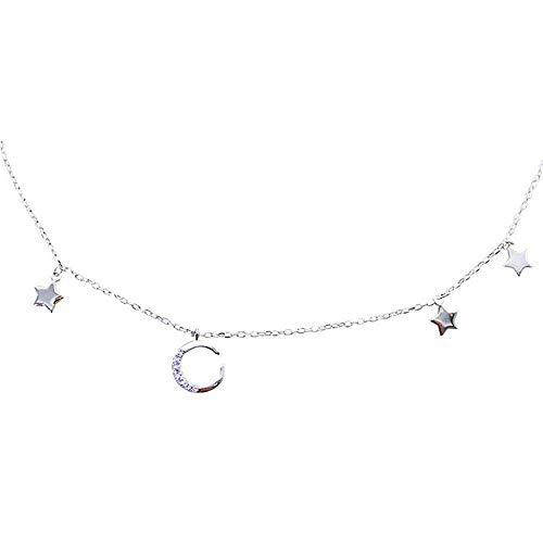(XINXI Home Mode Frauen 925 Sterling Silber Anhänger Halskette einfach und die Sterne und der Mond und die Krieger Mädchen Bohren Schlüsselbein Kette)