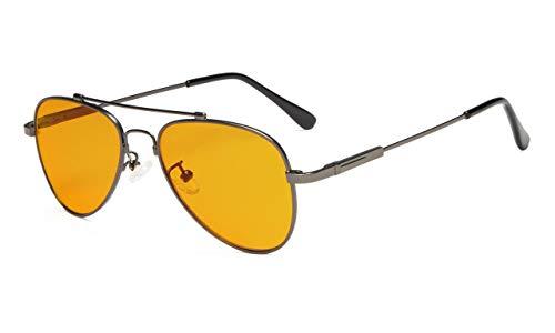 Eyekepper Anti Blau Licht Brille für Kinder mit 5-12 Jahren Computer Brillen Pilot Stil Erinnerung Rahmen (Gunmetal)