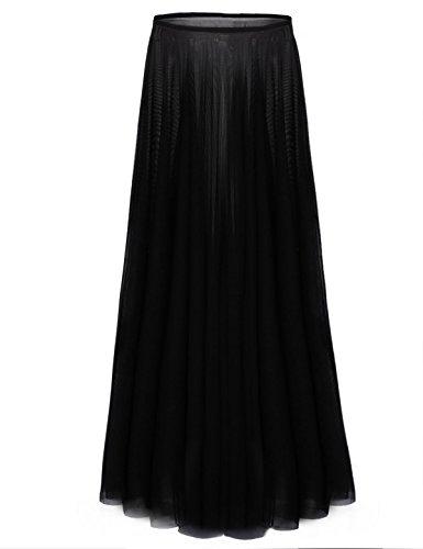 Freebily Falda Maxi Larga para Chica Mujer Largo Tutu Falda Tul Enaguas para Bailar Disfraz Halloween Negro X-Large