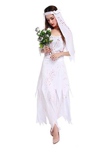 ZOMBIE Corpse Bride Damen Halloween-Geist-Fancy WeißB