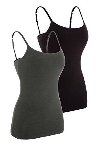 Attraco Damen 2er Pack BH Hemd Träger Top Baumwolle Ultra Soft Schwarz Grau 2XL (Soft Damen-hemd)