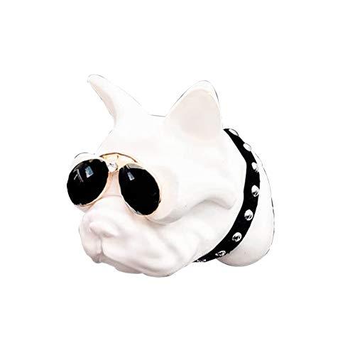 bismarckber Lovely Bulldog Deodorante per Auto Vent Clip Auto diffusore di fragranza Profumo Clip Decorazione, Porcellana, Bianco, Taglia U