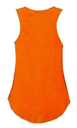 Fast Fashion Damen Oben Ärmellose Yolo Gold Neon Flourscent Ringerrücken Weste Neon Orange