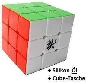 Speedcube Dayan II (Guhong) - 6 farbiger Zauberwürfel ohne lästige Sticker - inkl. Silikon-Öl und Cubikon-Tasche