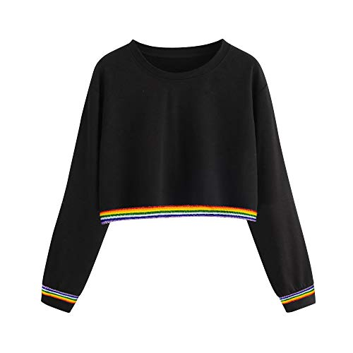 U.Expectating Frauen Cropped Hoodie Damen Sweatshirt Jumper Regenbogen Streifen für Teen Girls Womens Tops 2 Womens Raglan Hoodie