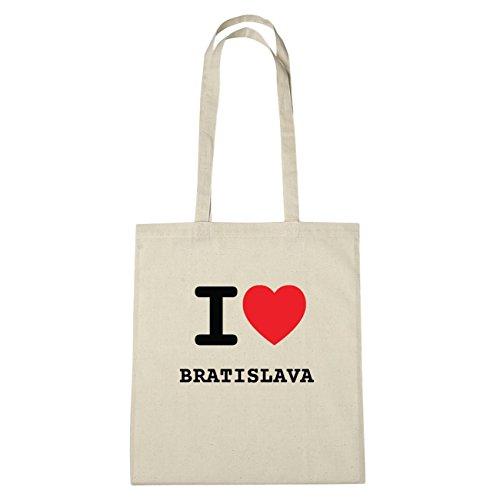 JOllify Bratislava di cotone felpato b4922 schwarz: New York, London, Paris, Tokyo natur: I love - Ich liebe