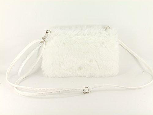 LONI Damen Kunst Pelz Clutch Tasche Schulter Crossbody Wristlet Handgelenkstaschen in Weiß Weiß