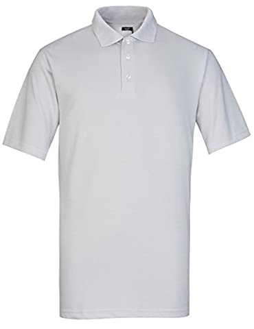Lesmart Men's Quick Dry Wicking Solid Color Sports Short Sleeve Golf Polo Shirts Size 4XL Light grey