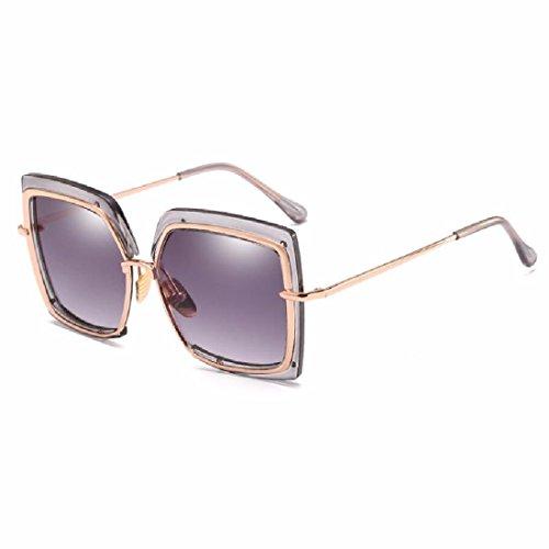 QPSSP Metall Inneren Ring Sonnenbrille Modischen Hälfte Frame Runden Gesicht Unregelmäßigen Sonnenbrille Lady Sonnenbrille,C