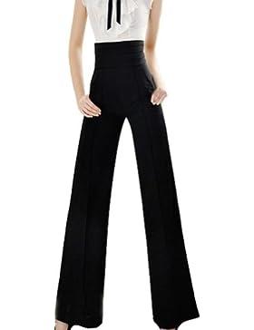 VOGABA Moda Negro delgado de Pantalones de Pierna Ancha Cintura Alta para Mujer Oficina OL Pantalones Elegantes