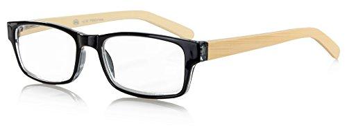 Lesebrille mit echten Holzbügeln aus Bambus - Lesehilfe inkl. Brillenetui und Mikrofasertuch - Kunststofflesebrille mit Federscharnier in den Stärken 1,0 bis 3,0 Modell: 2370 (+3.0)