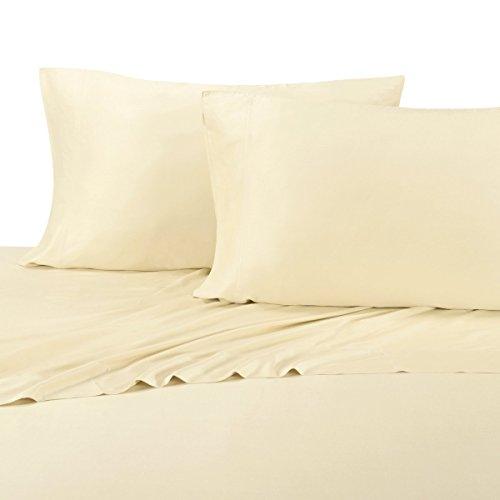 abripedic Bambus Blatt, Fadenzahl 600, seidig weich Blatt 100% Viskose aus Bambus-Bettlaken-Set, Bambus, elfenbeinfarben, King-Pillowcases