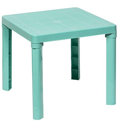 DKB Kindertisch 50 x 50 x 46 cm Maltisch Spieltisch Kinderzimmer Möbel Garten (Türkis)