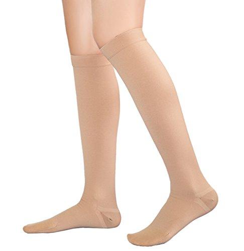 Kompressionsstrümpfe, 20-30mmHg für Damen und Herren, undurchsichtig, großartige Unterstützung Schwangerschaft Kniehöhe abgestufte Kompressionsstrümpfe, Beste Ergebnisse, Medizinisch, Krankenpflege, Schwellung, Krampfadern, Ödeme. 1 Paar Nude XL