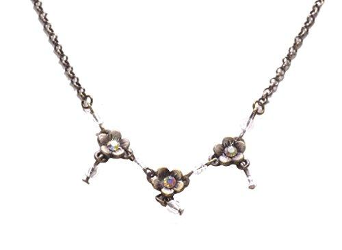 Enchanting forest- mit Trio Blume Charm/rustikalem Bronze Halskette (ZX186) (Bronze Trio)