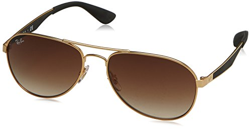 Ray-Ban Herren Sonnenbrille Rb 3549 Matte Gold/Gradientbrown, 58