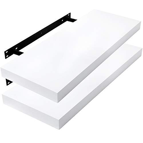 E-starain 2er Wandregal, 100x22.9x3.8cm MDF-Wandboard Schweberegal Holz Hängeregal DVD CD Regal Wall Shelf Für Küche Wohnzimmer Schlafzimmer Weiß