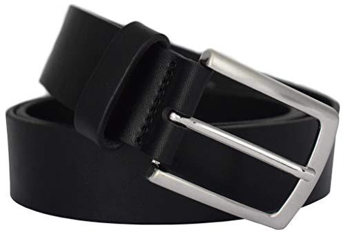 Schwarzer Ledergürtel - PREMIUM Vollrindledergürtel - für Herren aus 100% Echtem Leder in 35mm Breite - Leder Gürtel in schwarz, braun - Anzuggürtel ,  100 cm Bundweite = 115 cm Gesamtlänge,  Schwarz -