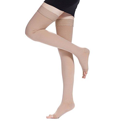 TININNA Frauen Damen Gewichtsverlust Elastisch Kompressionsstrümpfe Kompression Socken Strümpfe Stützstrumpfhose Stützstrümpfe Kniestrumpfe 20-30mmHg offener Zeh M Hautfarbe EINWEG Verpackung - Kompression Taillenkorsett