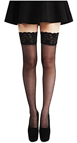Size S Black Luxury Satin Lace Top Hold Ups 10 Den Soft Shine Appearance