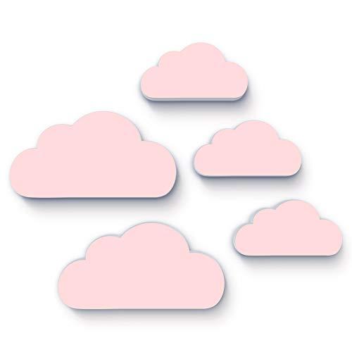 (M6) 5-er Set Kinderzimmer, 3D-Wanddeko, Bilder, Kinderposter, Dekoration, Wandtattoo, Bild Babyzimmer 19 x 10cm und 14 x 7 cm, 10mm dicker Kunststoff (pink)