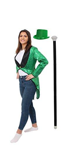 ILOVEFANCYDRESS Frack/Tailcoat= Pailletten Frack =STEPTANZ Fasching UND Karneval = ERHALTBAR IN 5 Farben + 6 GRÖSSEN= MIT TANZSTOCK ODER MIT Zylinder +TANZSTOCK = GRÜNER - Fred Und Ginger Kostüm