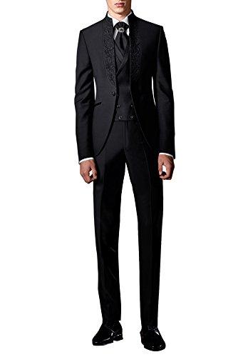 Suit Me Herren 3 Teilig Stickerei Hochzeit Anzug Party Tuxedos Smoking Anzuege Sakko,Weste,Hose HN112 Schwarz XL