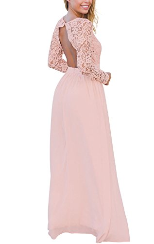 MayStory Damen Abendkleider Spitzen Rückenfrei V-Ausschnitt Langarm Maxi Lang hochzeit Partykleid Rosa
