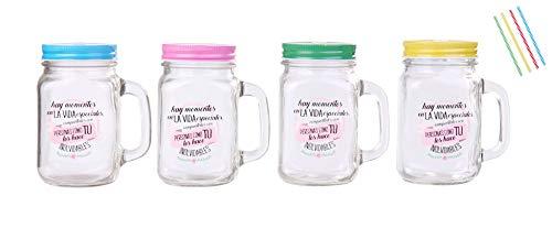 Lote de 20 Jarras de Cristal con Caña Frases'MOMENTOS ESPECIALES' Jarras, Tazas para Detalles, regalos y recuerdos de Bodas, Bautizos, Comuniones y Cumpleaños