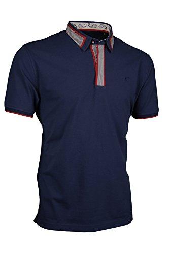 Premium-Poloshirt von Giorgio Capone, einzigartiger Hemdkragen, Pique-Stoff 100% Baumwolle, navy-blau, Regular Fit (XXL) (Gestreiftes Piqué Polo-shirt)