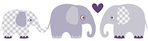 lovely label Bordüre selbstklebend ELEFANTEN AUBERGINE/GRAU - Wandbordüre Kinderzimmer / Babyzimmer mit Elefanten in versch. Farben -...