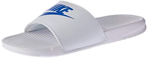 Nike benassi just do it, ciabatte uomo, bianco (white/varsity royal), 44 eu