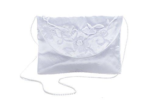 Princess Taufkleid Brautbeutel aus Satin in Weiß und Ivory Weiß/Perlen/Stickerei