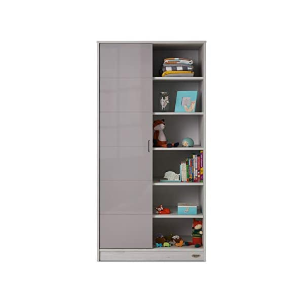Obaby Madrid Double Wardrobe, Lunar Obaby One side offers two hanging rails and one fixed shelf The other side offers 6 deep fixed shelves Gloss sliding door is reversible and offers easy access to both sides 2