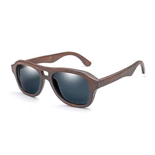 Ruanyi Mode Bambus Handmake Brille Bambus polarisierte Sonnenbrille männliche und weibliche Piloten Klassische Spiegel Farbe Film Bambus Beine Sonnenbrille männer Frauen uv400 Schutz (Color : Gray)