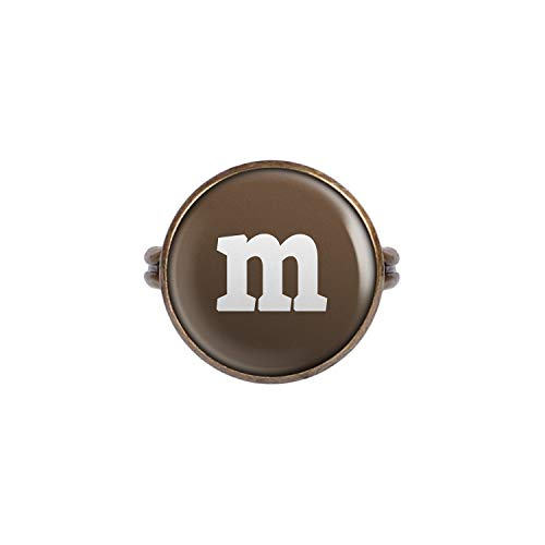Mylery Ring mit Motiv Buchstabe m Braun Bronze 16mm (Witzige Gruppe Kostüm)
