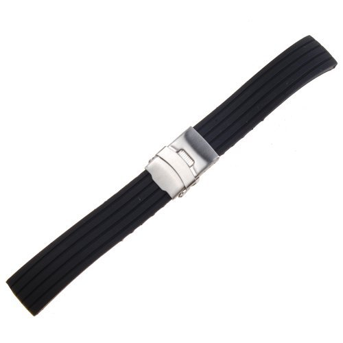black-silicone-rubber-watch-strap-band-deployment-buckle-waterproof-20mm