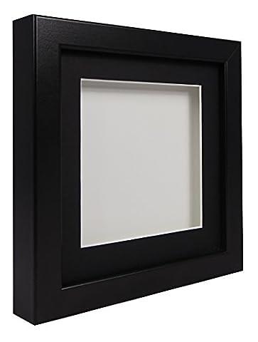 Vivarti TrueBox 3D Shadow Display Picture Frame 30 x 30cm - Black Frame, Black Mount, White Backing Card