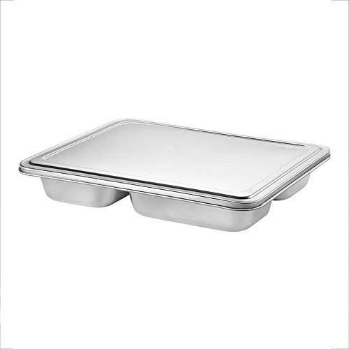 Küchenwerkzeug Geteilte Teller Edelstahl mit Deckel Square Box Fast Food Teller Gesunder Lebensstil Geschirr 23cm x 29cm hygienisch (Color : Five grid)