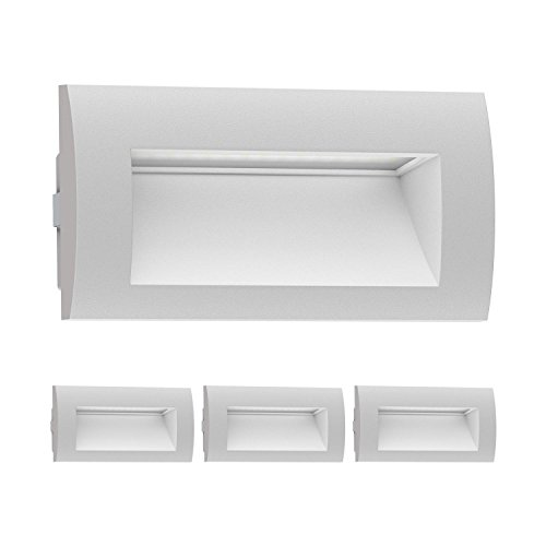 Ledscom.de led lampada da incasso a parete zibal da esterno, bianca calda, 140x70mm, 4 pz