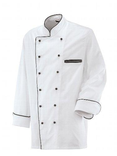 Weisse Kochjacke mit schwarzer Paspel, langarm Modell 203 von Exner (48) (Paspel Ärmel)