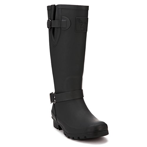 Evercreatures Rain Boot Gumboots Triumph Wellies Tall Black Gray Faux Zip Wellington Boots(The Size in The Sole are UK Size and EU Size)