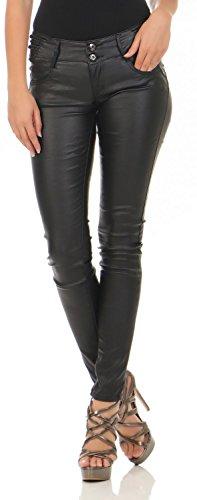 Damen Kunstlederhose Skinny (Röhre) Nr. 591, Grösse:38, Farbe:Schwarz