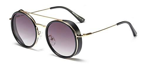 Sonnenbrille Retro Sonnenbrille Frauen Mode Doppelbrücken Vintage Dampf Gläser Mann Gradient Runde Goggle Schattierungen Männer Schwarz Matt Grau